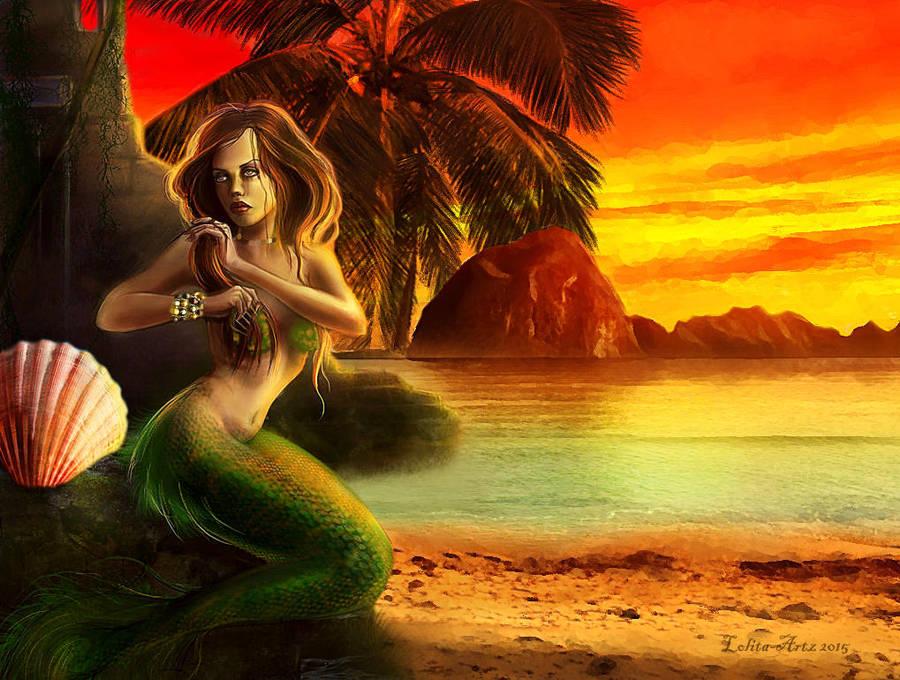 sunset mermaid by Lolita-Artz