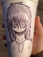 Jeff the Killer on a cup by randomdrawerchic