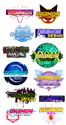 [r+p] so, so, so many digimon fanproject logos by glitchgoat