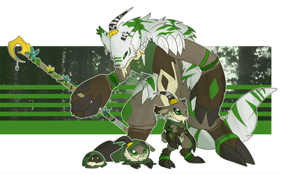 [p] druid goat digimon by glitchgoat