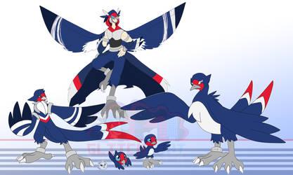 [c] Barn Swallow Digimon by glitchgoat