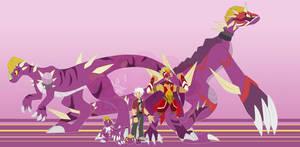 [c] Lucha Dino Digimon by glitchgoat