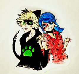 Ladybug and cat noir by Kris-Min-YG