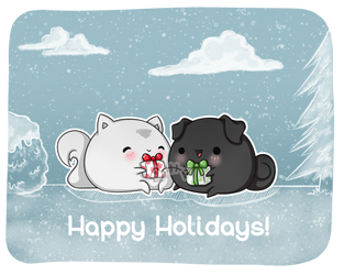.: Day 015 :. Snowball and Lucky | Happy Holidays! by PlushieLemon