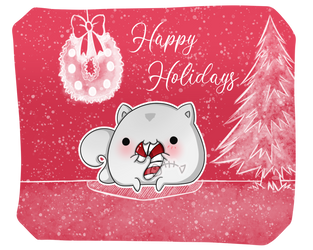 .: Day 016 :. Snowball and her candy cane by PlushieLemon