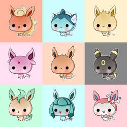 .: Day 018 :. Eeveelutions by PlushieLemon