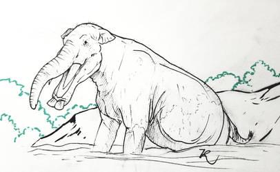 Inktober platybelodon by zachrobinson