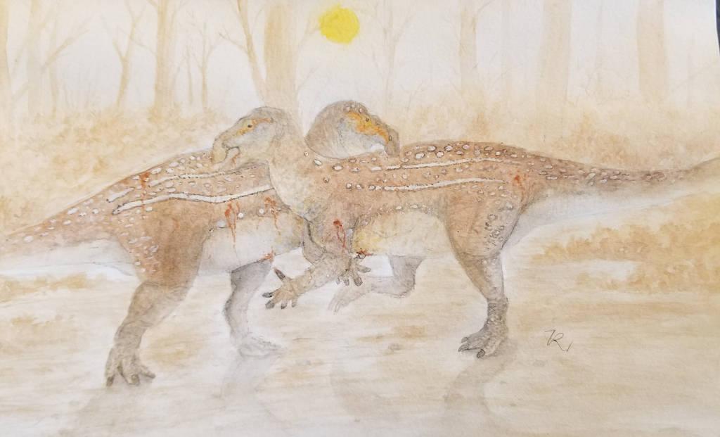 Iguanodon fight by zachrobinson