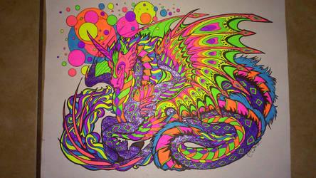 Neon Bubble Dragon by LordofPhoenixDawn