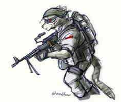 SAW gunner by oLEEDUEOLo