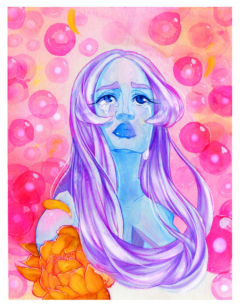 A watercolor of my babe! Merch here~ www.redbubble.com/people/patch…