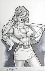 Power Girl 11 x 17 by Amiya by Barracuda9999