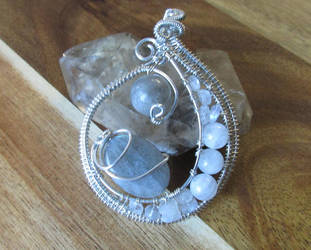 Labradorite and Rainbow Moonstone Crescent Pendant by Ngetal-Child