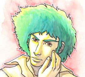 Spike Spiegel fan art - face by Hannah-Hayashi