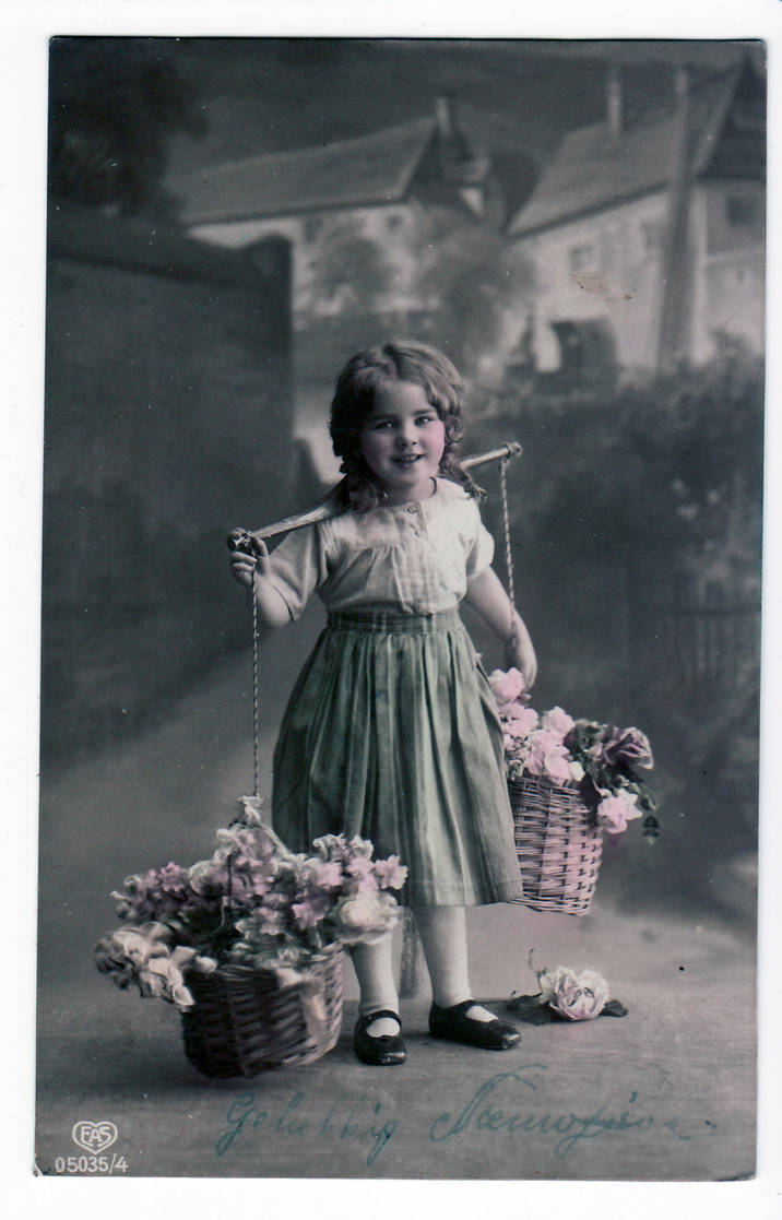 vintage - child and flowers by Meltys-stock
