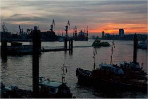 Harbor at sunset by karlomat