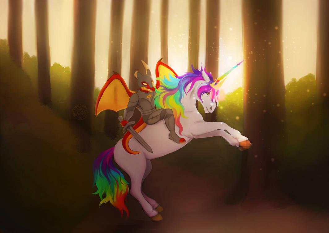 [ YCH AUCTION finished ] Unicorn rider by Marchef-Iustinianie