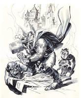 THOR defending Asgard Gray tones. by StephaneRoux