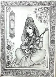 Persian Court Musician (Tar) of Safavid Dynasty by Gambargin