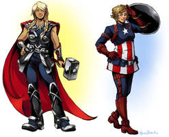 Cap and Thor Genderbend by taintedsilence