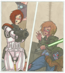 The Little Jedi and the Good Trooper. by MidoriNoHonoo