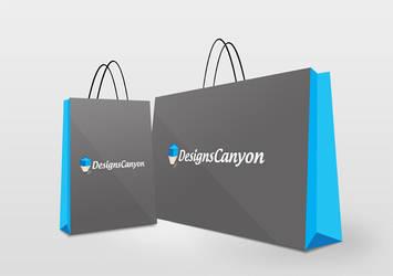 Shopping Bag PSD Logo Mock-up Design by DesignsCanyon