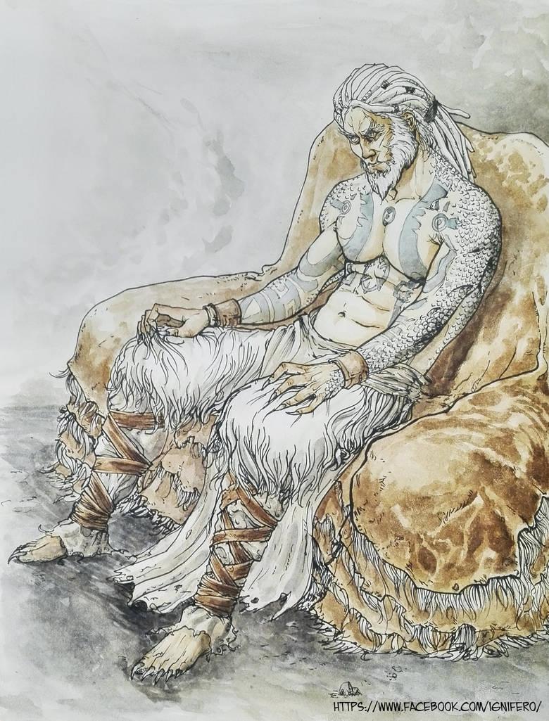 Ian Bahiron in the throne of skin - by ignifero by Ignifero