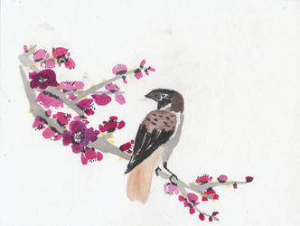 Plum Blossoms with Sparrow by xPartyHeartyx