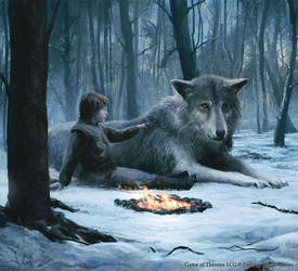 Bran Stark and Summer by 1oshuart
