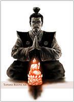 Praying Samurai Buddha by Tatiax