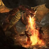 red dragon by 0oki