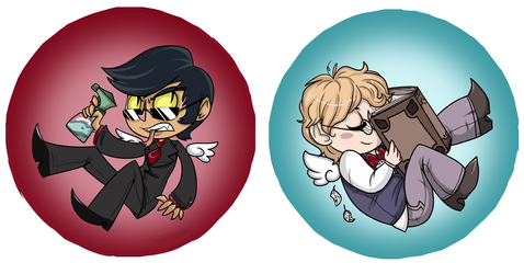 [S21] Good Omens Buttons by PrincePompadour
