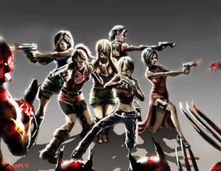 Resident Evil Girls by mansarali