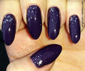 Purple Glitter Nails by EnigmaticRambles