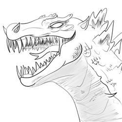Godzilla Sketch by ProjectCornDog
