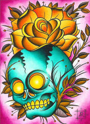 skull and rose by annielicious