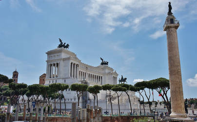 Colonna Traiana and Monument of Victor Emanuel II by LiveLongButLOL