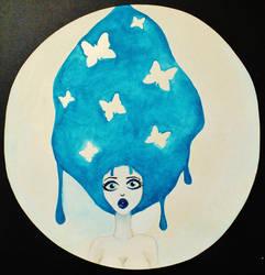 Butterfly Hair Blue by LanniePossum
