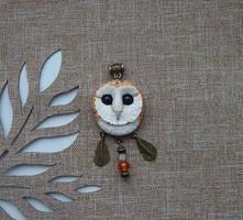Barn-owl pendant by koshka741