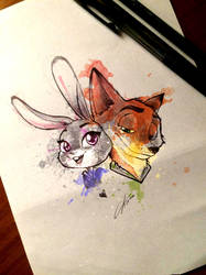 Judy and Nick - Zootopia colored version by CKibe