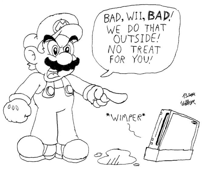 Mario finds Wii on the carpet by Beau-Skunk