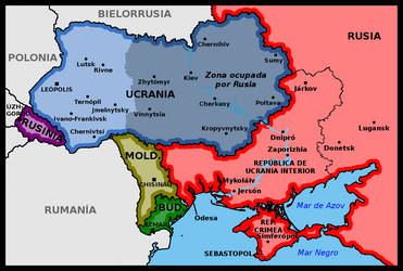 Map of Ukraine after being defeated by Russia by matritum