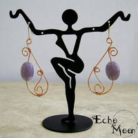 Copper Lepidolite Earrings by EchoMoonJewelry