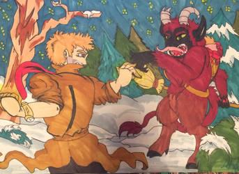 Constantine vs Krampus  by Creative-Blossom