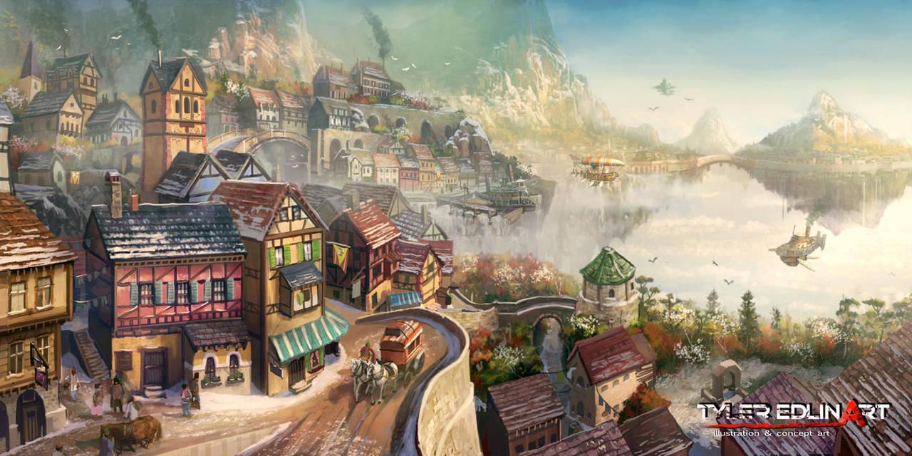 Floating city Bridgea by TylerEdlinArt