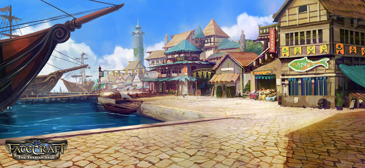 Fatecraft Port Town by TylerEdlinArt