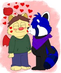 Lucas kisses Marcus by SuziethePuffball