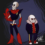 Underfell Sans and Papyrus by lucidlyLivid