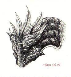 Inked Dragon Head by silverdragon27