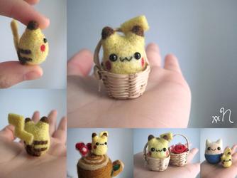 Miniature Felted Pikachu by xxNostalgic